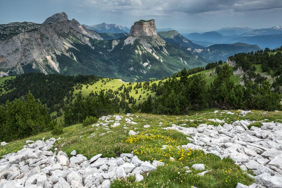 Le Mont Aiguille en été vu depuis les Hauts Plateaux du Vercors au dessus du Pas de l'Aiguille