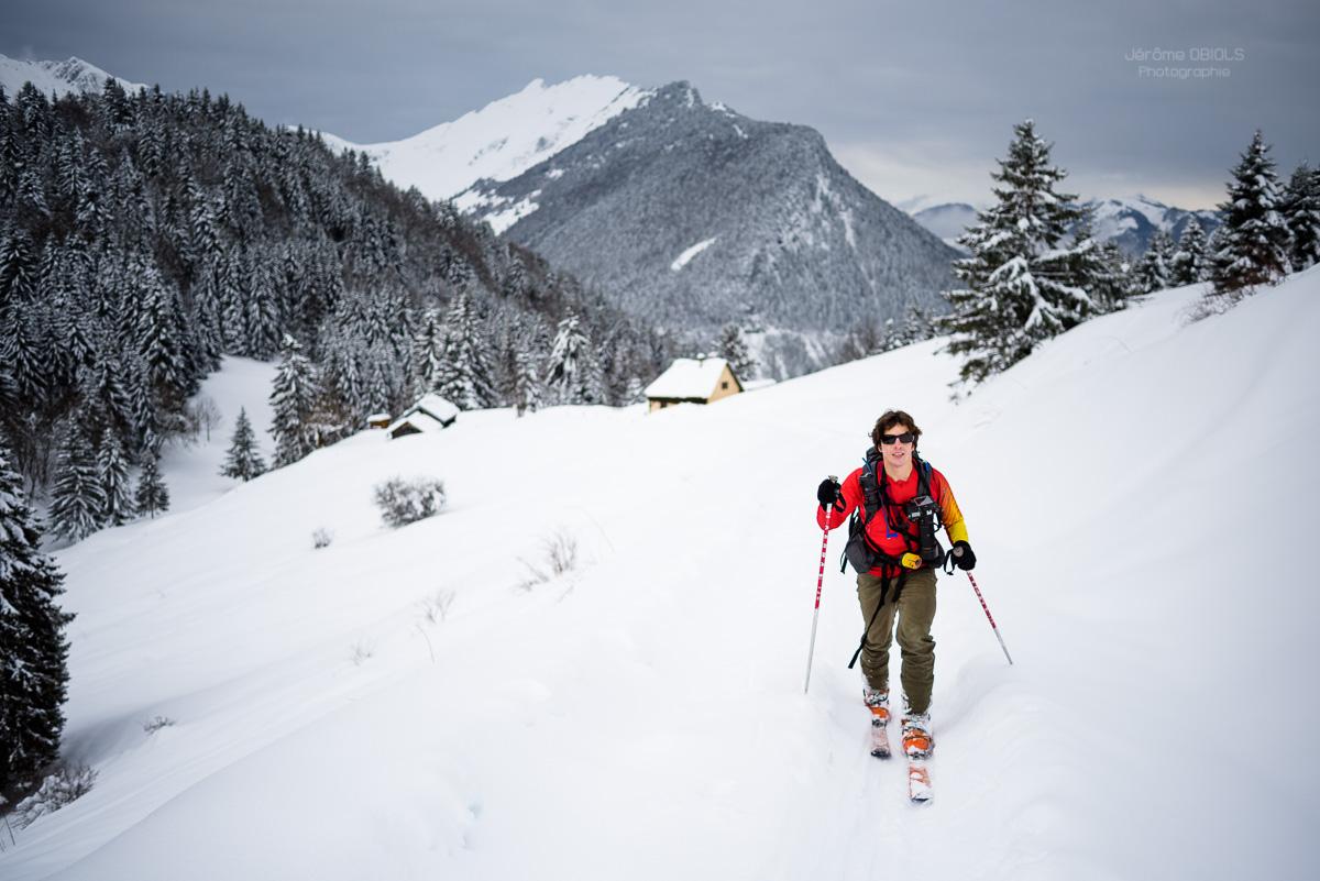 Ski de randonnée au Plan de la Limace. Massif des Bauges.