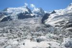 Vue sur les glaciers depuis la Jonction. Glacier des Bossons, Mont-Blanc-du Tacul et Mont Maudit. Massif du Mont-Blanc.