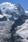 Mont Maudit et glacier des Bossons. Massif du Mont-Blanc.