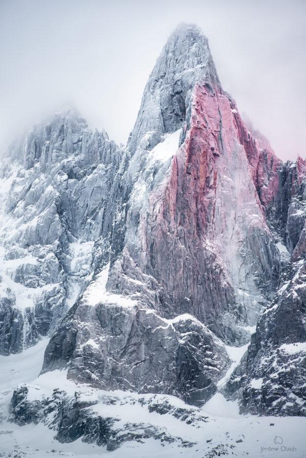 achat photo les Drus en hiver coucher de soleil, neige