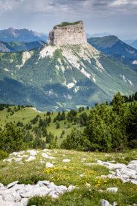Le Mont Aiguille en été vu depuis les hauteurs du Pas de l'Aiguille