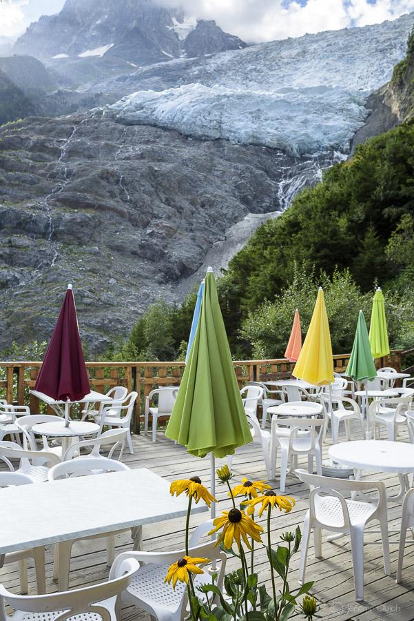 Le Glacier des Bossons depuis la buvette du Chalet des Bossons