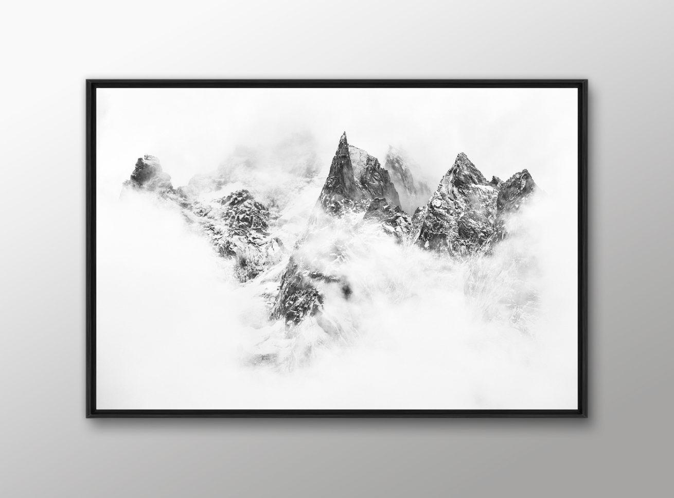 Idee cadeau photo montagne noir et blanc encadree