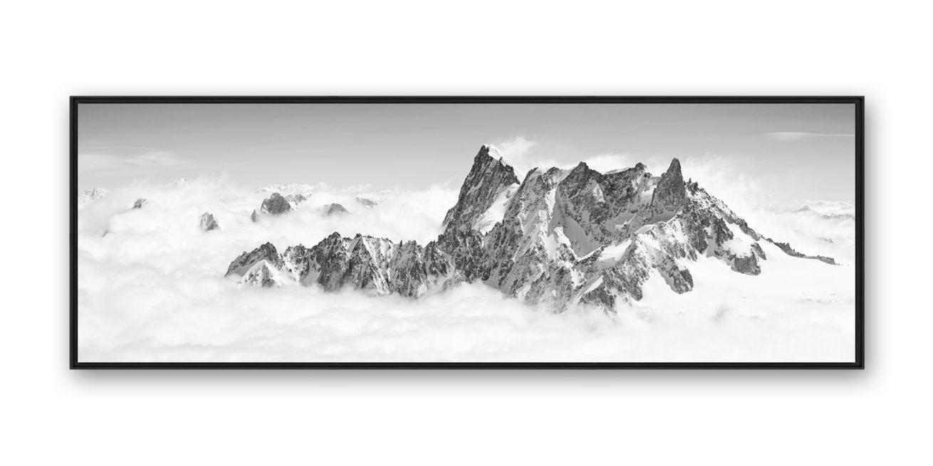 Tirage d'art photo montagne noir et blanc en caisse américaine