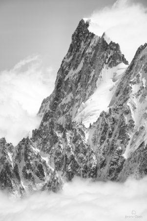 Grandes Jorasses noir et blanc, massif du Mont-Blanc