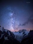 Voie lactee au dessus de la vallee blanche et du Mont-Blanc.