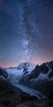 La voie lactée au dessus du Mont-Blanc et de la Mer de glace.