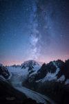 La voie lactee au dessus du Mont-Blanc avec au premier plan la Mer de Glace et les Aiguilles de Chamonix.