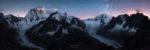 ue nocturne estivale sur les Grandes Jorasses et le Mont-Blanc la nuit. Glacier de Leschaux et Mer de Glace.