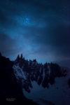Les Pleiades au dessus des Aiguilles Ravanel et Mummery vues depuis le bassin de Talefre.