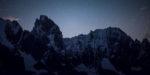 Aiguille de Lechaux et Petites Jorasses de nuit. Massif du Mont Blanc.