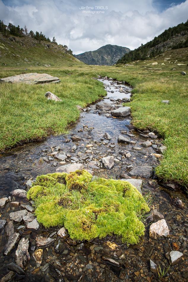 Ruisseau dans le vallon de la Peira Escrita et le pic de Pla de