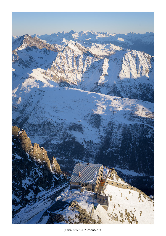 Refuge Torino en hiver. Massif du Mont-Blanc.