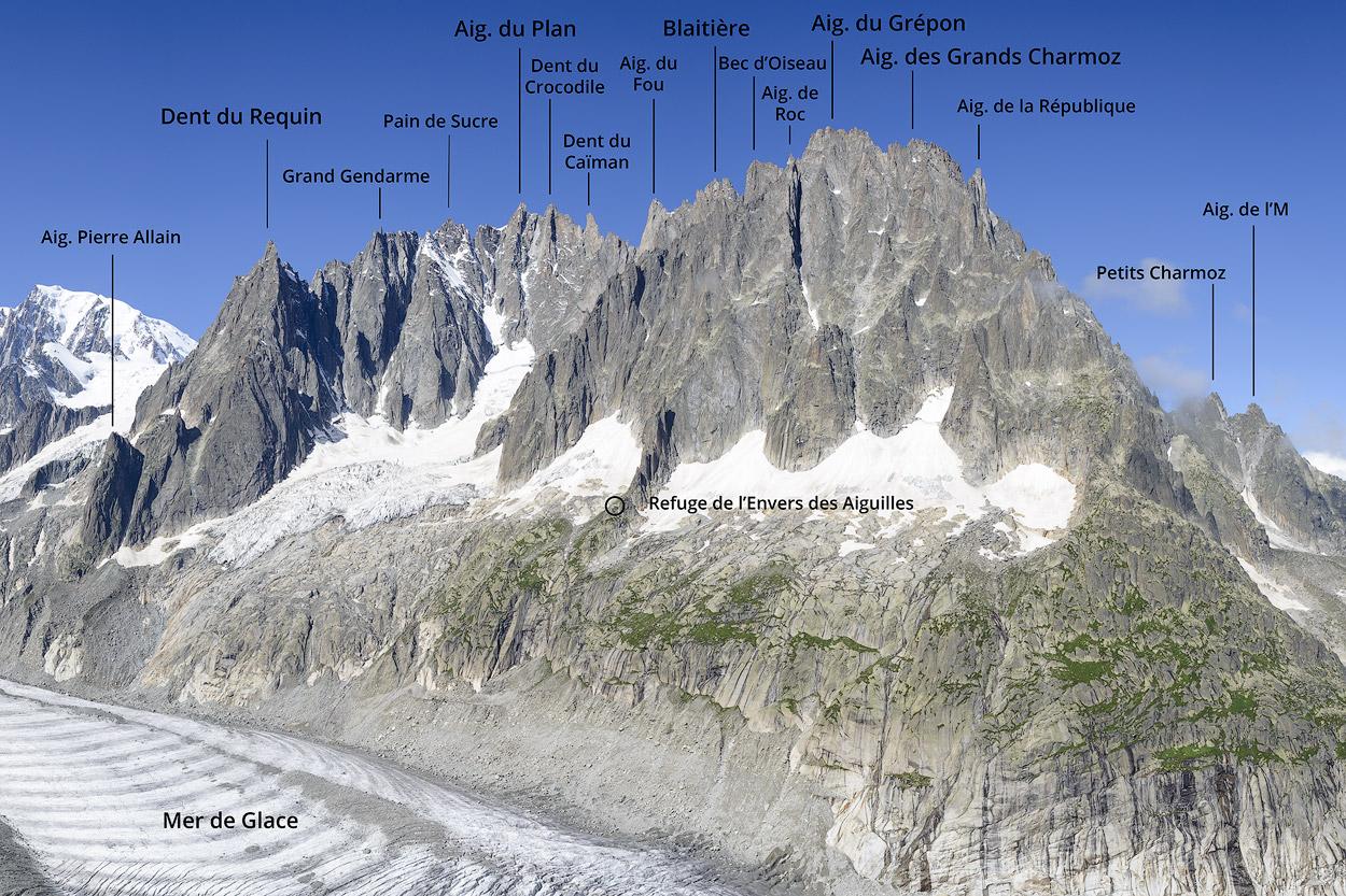 Nom des sommets envers des Aiguilles et mer de Glace
