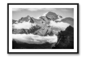 Photo du Mont-Blanc en noir et blanc tableau photo du Mont-Blanc en noir et blanc encadré