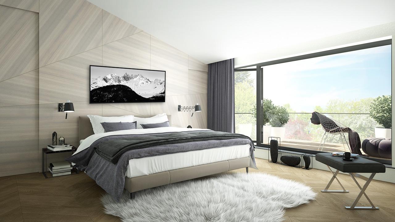 Chambre moderne décorée avec un tableau panoramique montagne noir et blanc