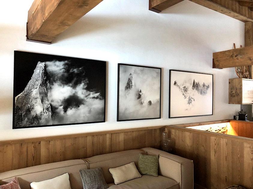 Photo murale et tableau montagne dans une décoration d'intérieur de chalet