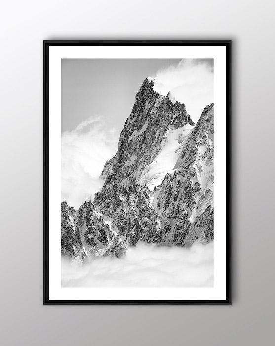Tableau photo des Grandes Jorasses en noir et blanc