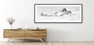 tableau photo montagne noir et blanc